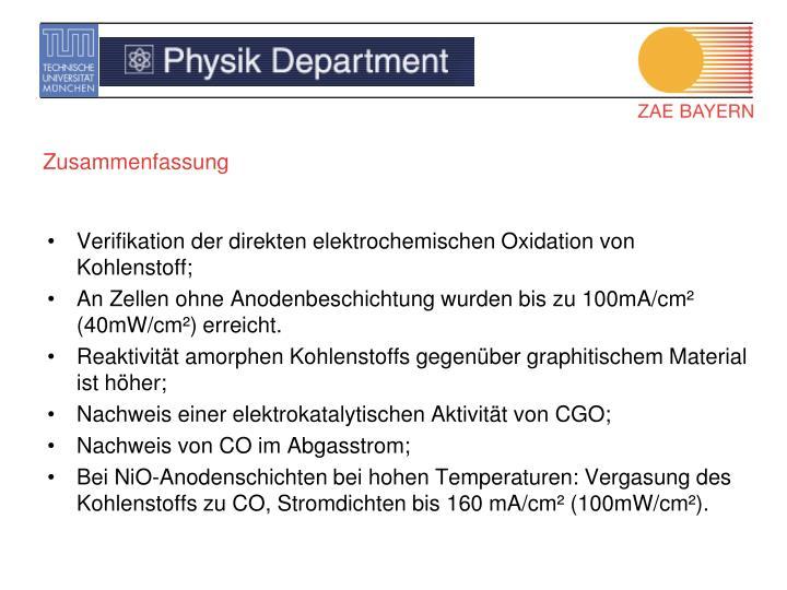 Verifikation der direkten elektrochemischen Oxidation von Kohlenstoff;