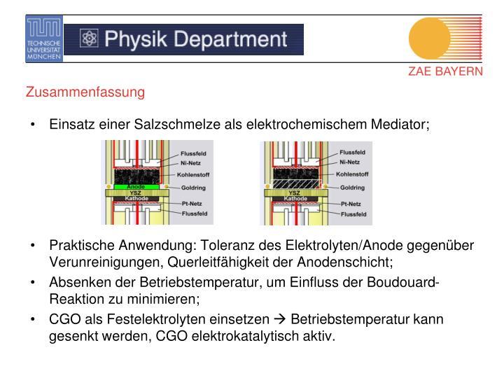Einsatz einer Salzschmelze als elektrochemischem Mediator;