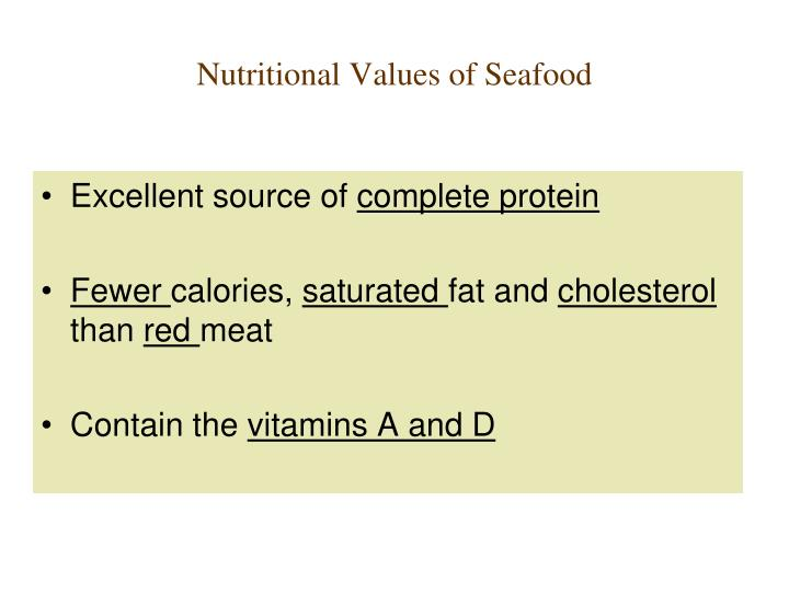 Nutritional Values of Seafood