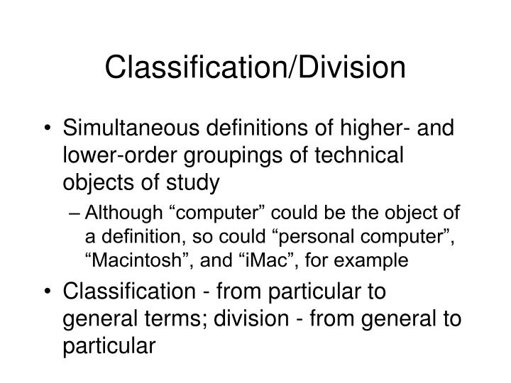 Classification/Division