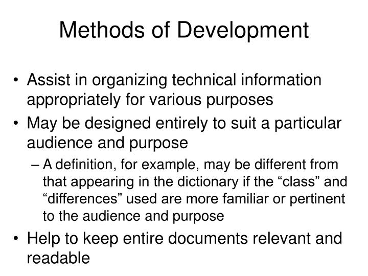 Methods of development1
