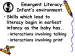 emergent literacy infant s environment