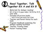 read together talk together kit a and kit b