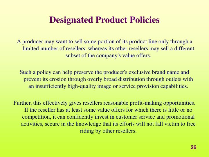 Designated Product Policies