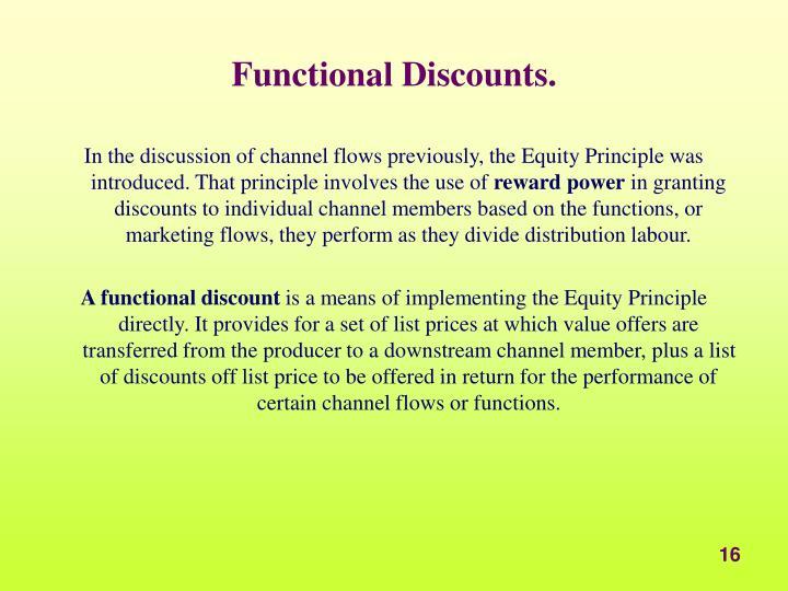 Functional Discounts.