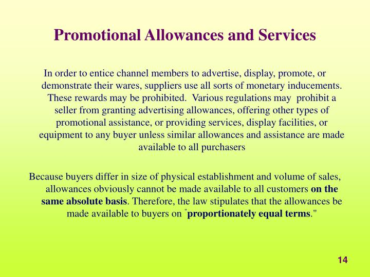 Promotional Allowances and Services