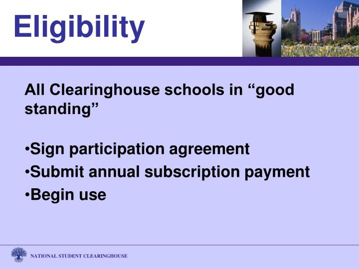 "All Clearinghouse schools in ""good standing"""