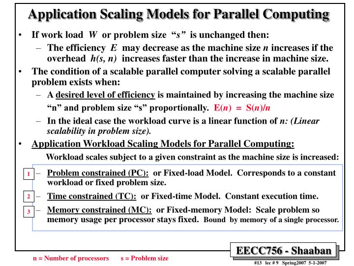 Application Scaling Models for Parallel Computing