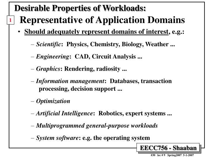 Desirable Properties of Workloads: