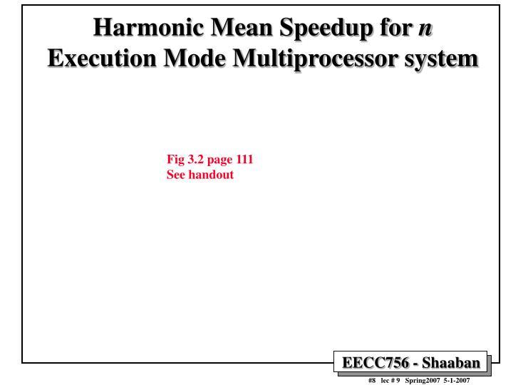 Harmonic Mean Speedup for