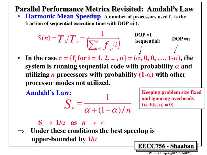 Parallel Performance Metrics Revisited:  Amdahl's Law