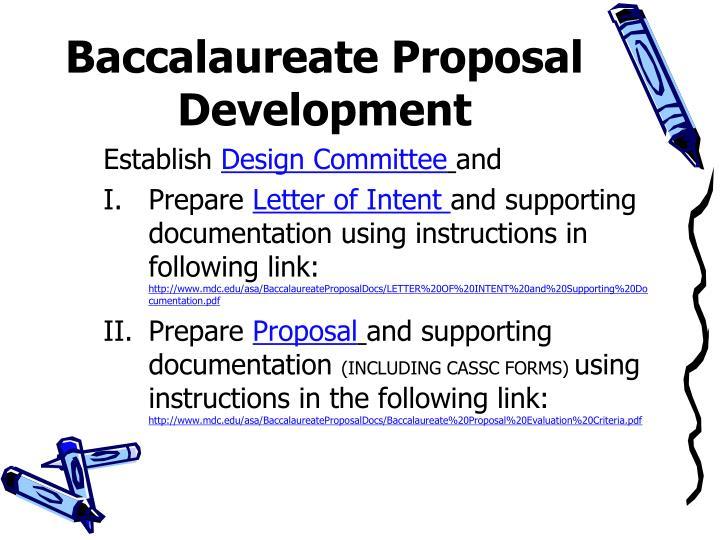 Baccalaureate Proposal Development
