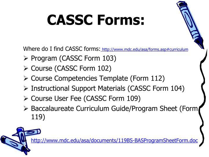 CASSC Forms: