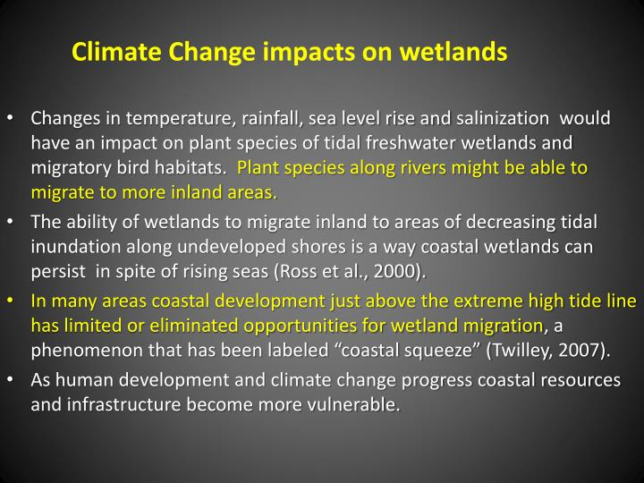 Climate Change impacts on wetlands