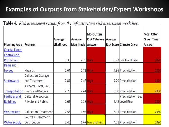 Examples of Outputs from Stakeholder/Expert Workshops