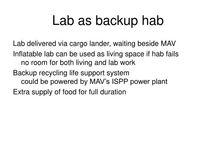 Lab as backup hab