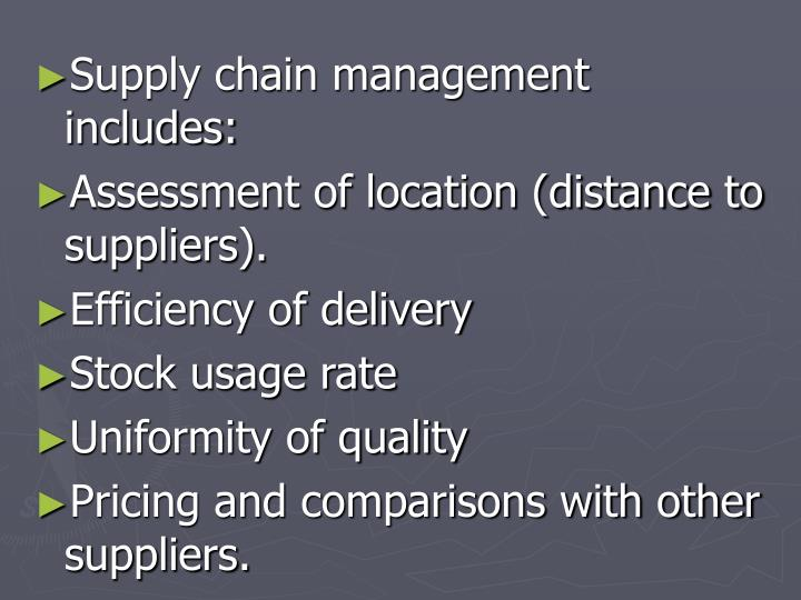 Supply chain management includes: