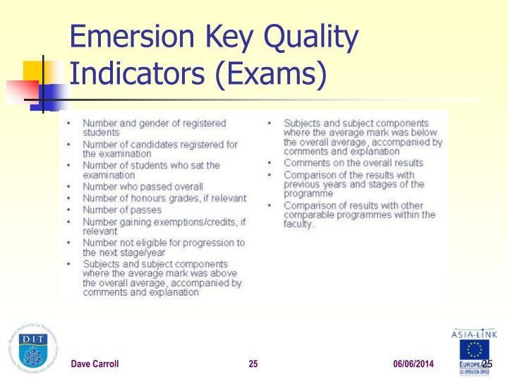 Emersion Key Quality Indicators (Exams)