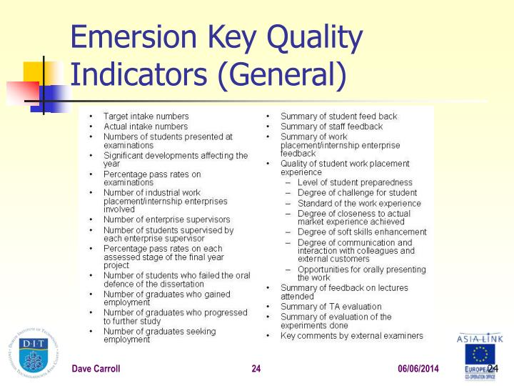 Emersion Key Quality Indicators (General)