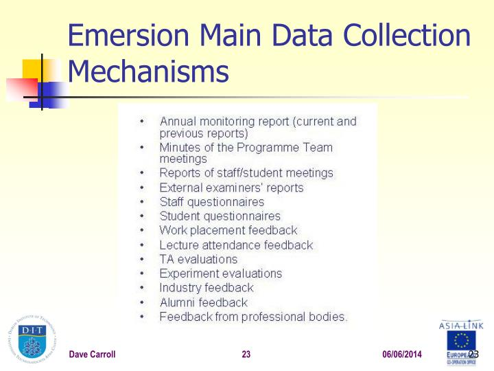 Emersion Main Data Collection Mechanisms