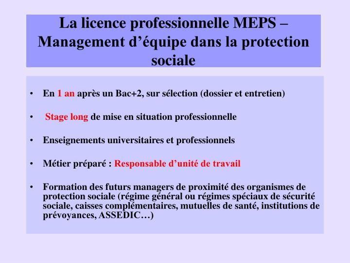 La licence professionnelle MEPS – Management d'équipe dans la protection sociale