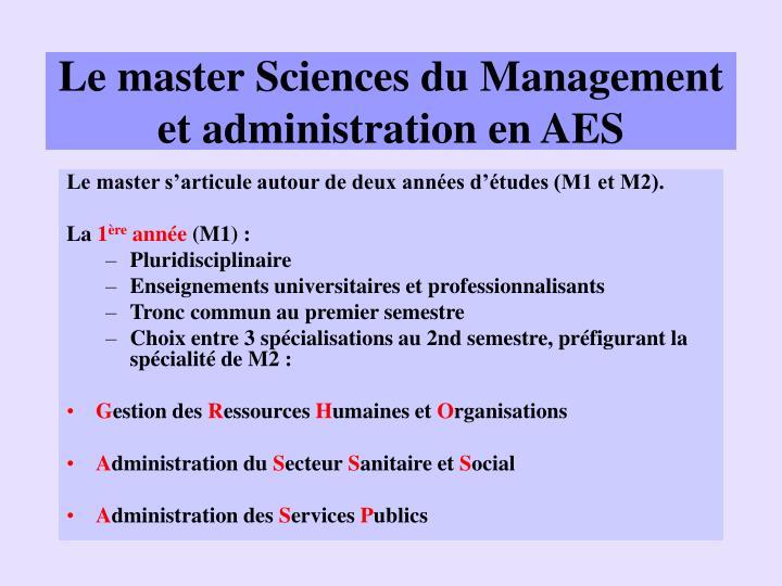 Le master Sciences du Management et administration en AES