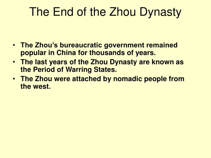 The End of the Zhou Dynasty