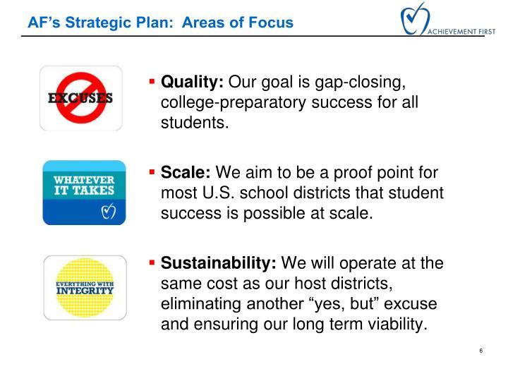 AF's Strategic Plan:  Areas of Focus
