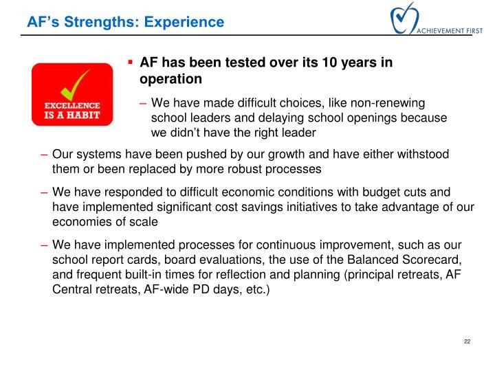 AF's Strengths: Experience