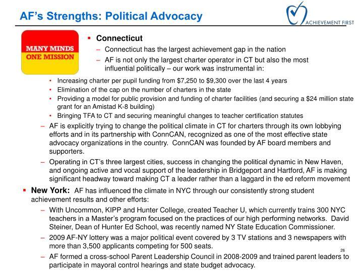 AF's Strengths: Political Advocacy