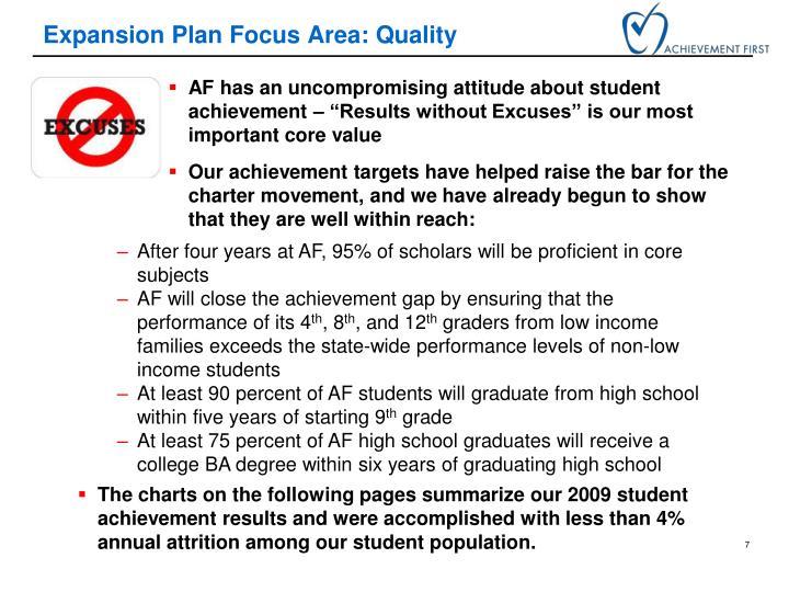 Expansion Plan Focus Area: Quality