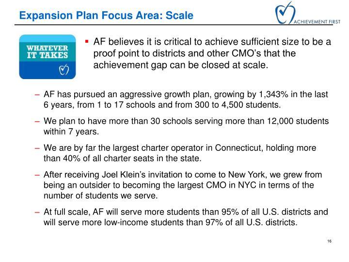 Expansion Plan Focus Area: Scale