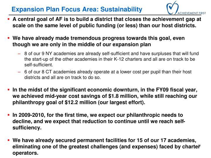 Expansion Plan Focus Area: Sustainability