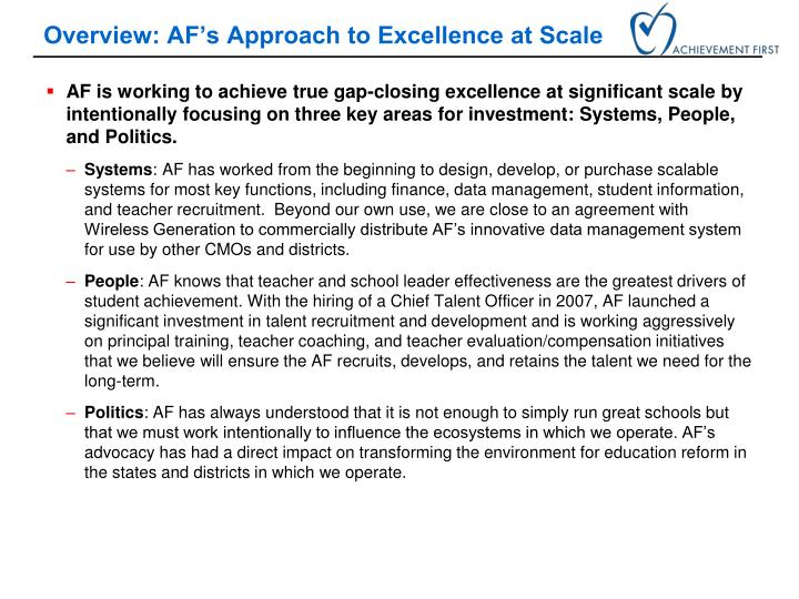 Overview: AF's Approach to Excellence at Scale