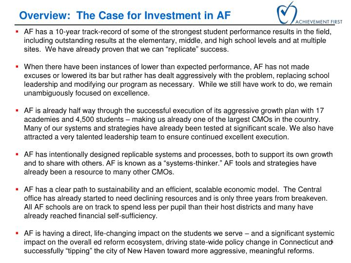 Overview:  The Case for Investment in AF