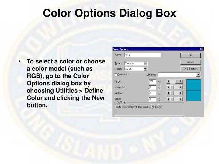 Color Options Dialog Box