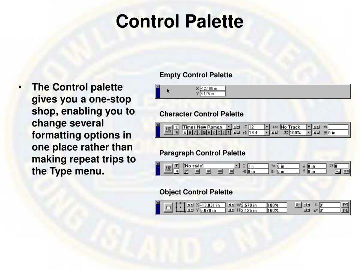 Control Palette