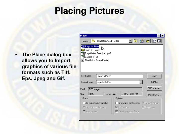 Placing Pictures