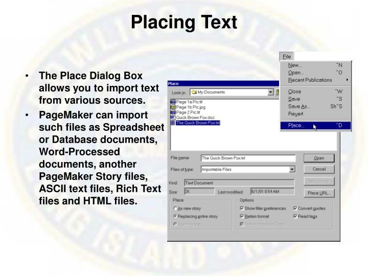 Placing Text