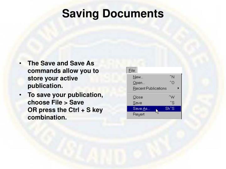 Saving Documents