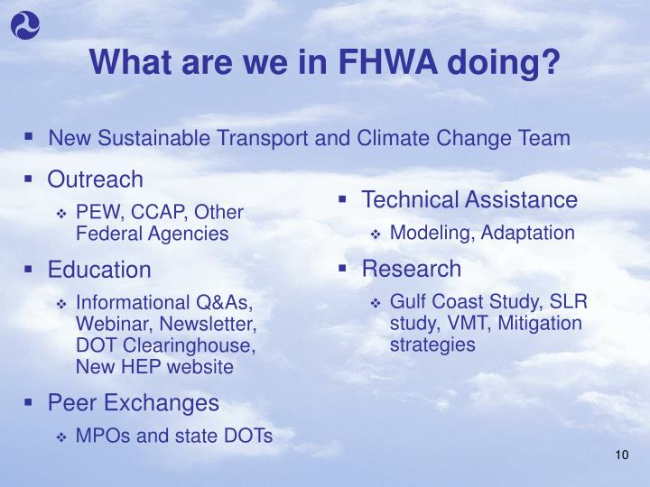 What are we in FHWA doing?