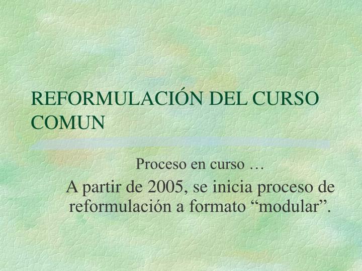 REFORMULACIÓN DEL CURSO COMUN