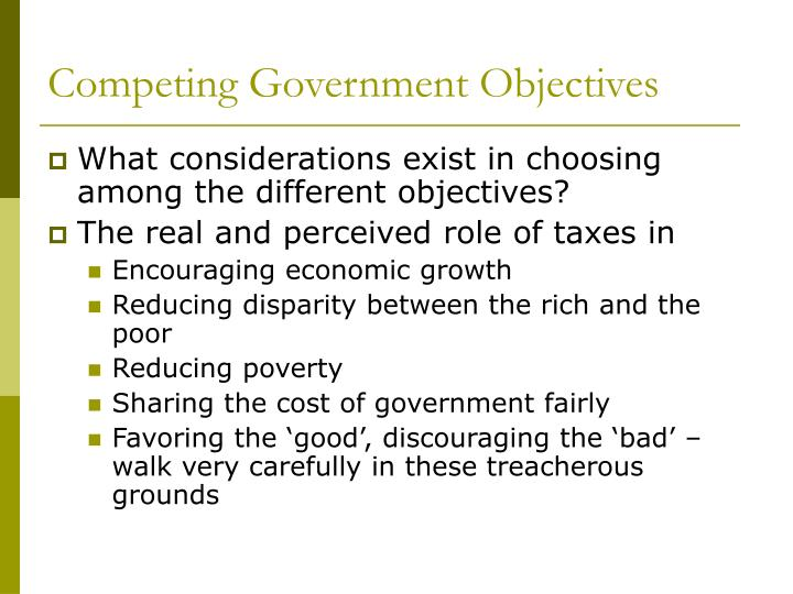Competing Government Objectives