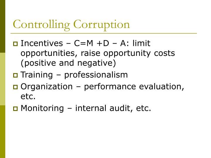 Controlling Corruption