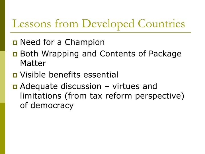 Lessons from Developed Countries