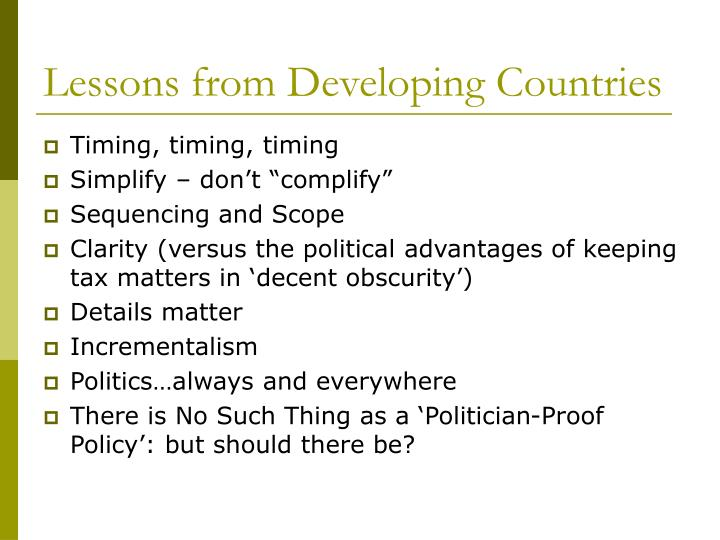 Lessons from Developing Countries
