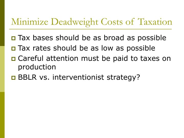 Minimize Deadweight Costs of Taxation