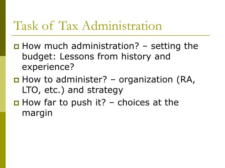Task of Tax Administration