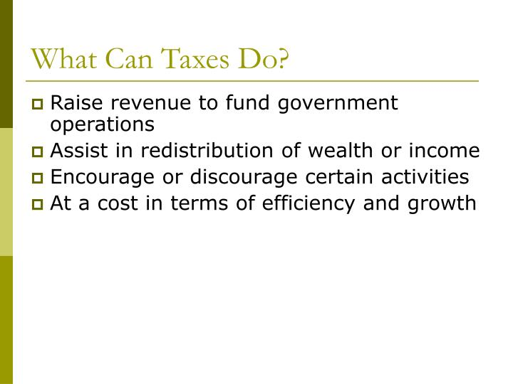 What Can Taxes Do?