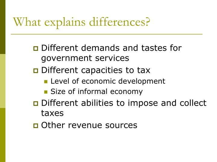 What explains differences?